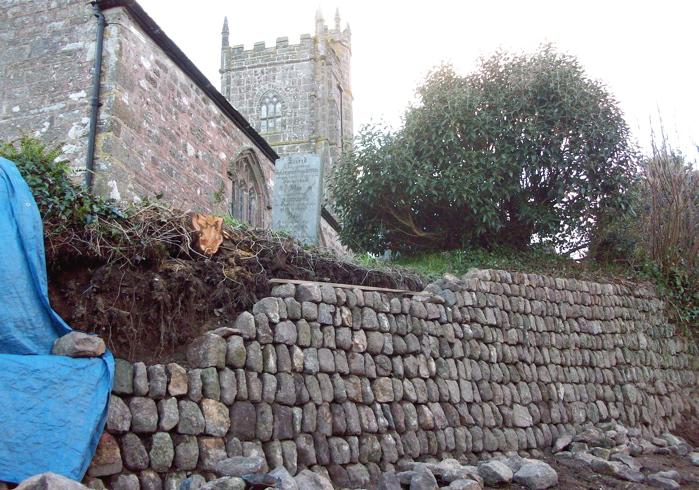 A retaining hedge built by a Guild apprentice as individual practice during his 40-day training period.